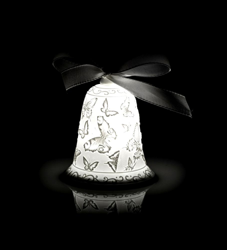 Campanella Farfalle Cm9 Con Led In Porcellana