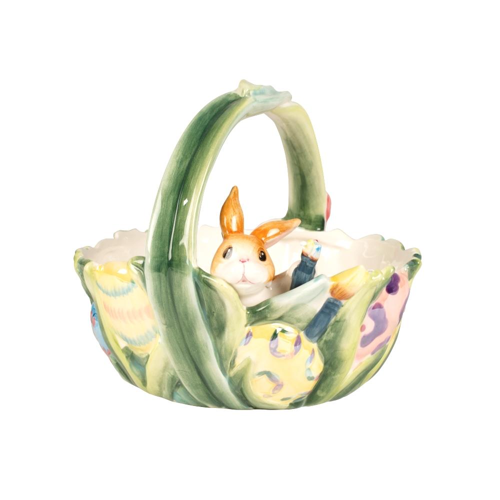 Cestino Con Coniglio In Porcellana