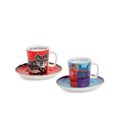 Set 2 Tazze Caffè Laurel Burch Celeste/Rosso