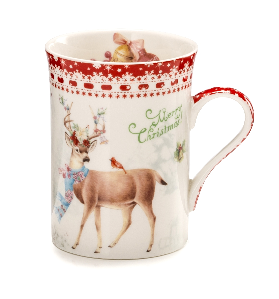 Mug In Porcellana Con Alce Linea Merry Christmas In Scatola Regalo By Palais Royal