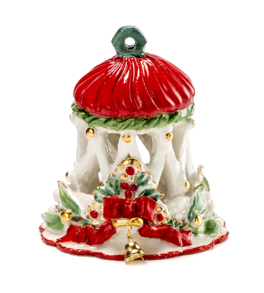 Campanellain Porcellana Traforata Dipinta A Mano Hcm12 - Natale By Palais Royal