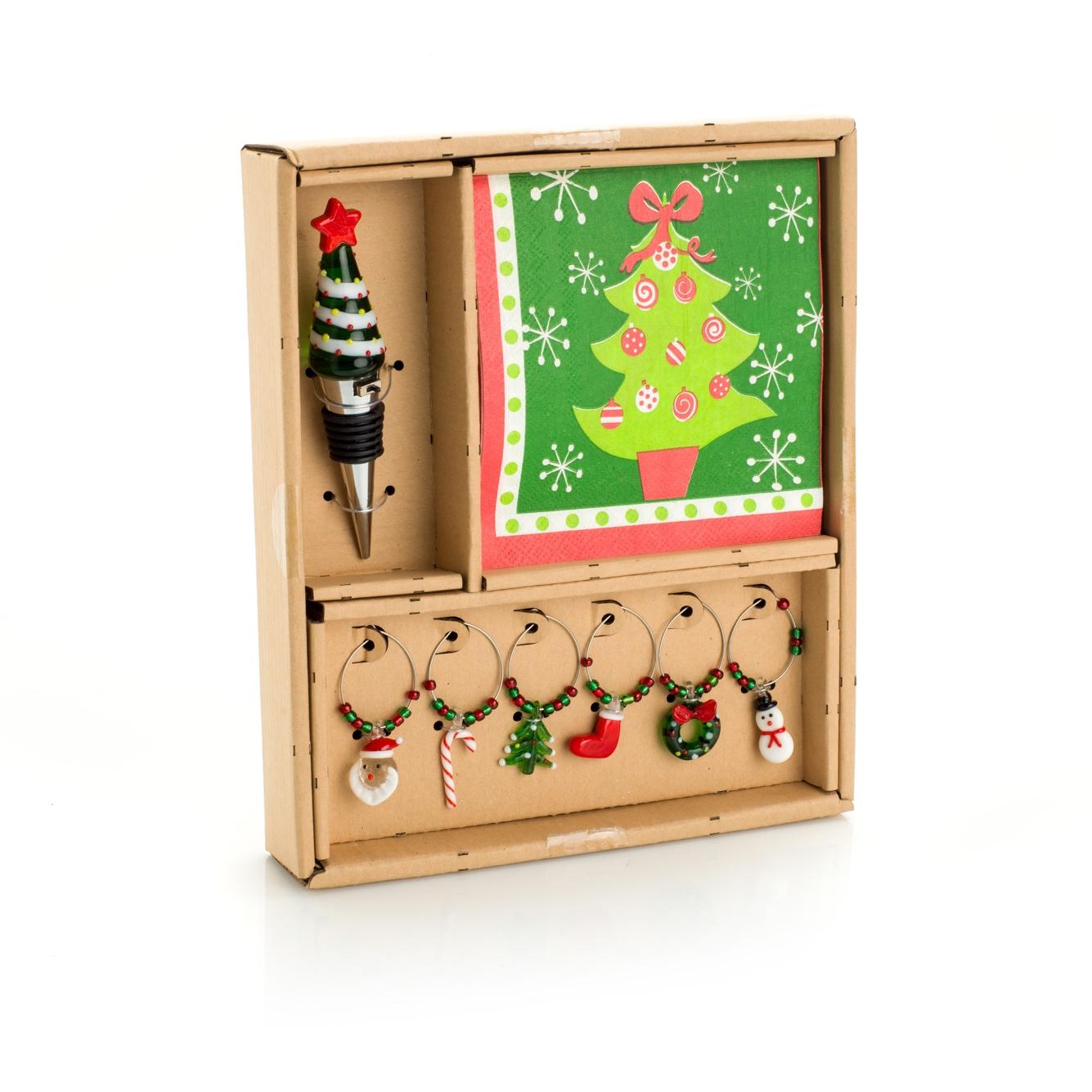 Set Vino Albero Di Natale - Tappo Albero Con Led - Tovaglioli - 6 Segna Bicchieri