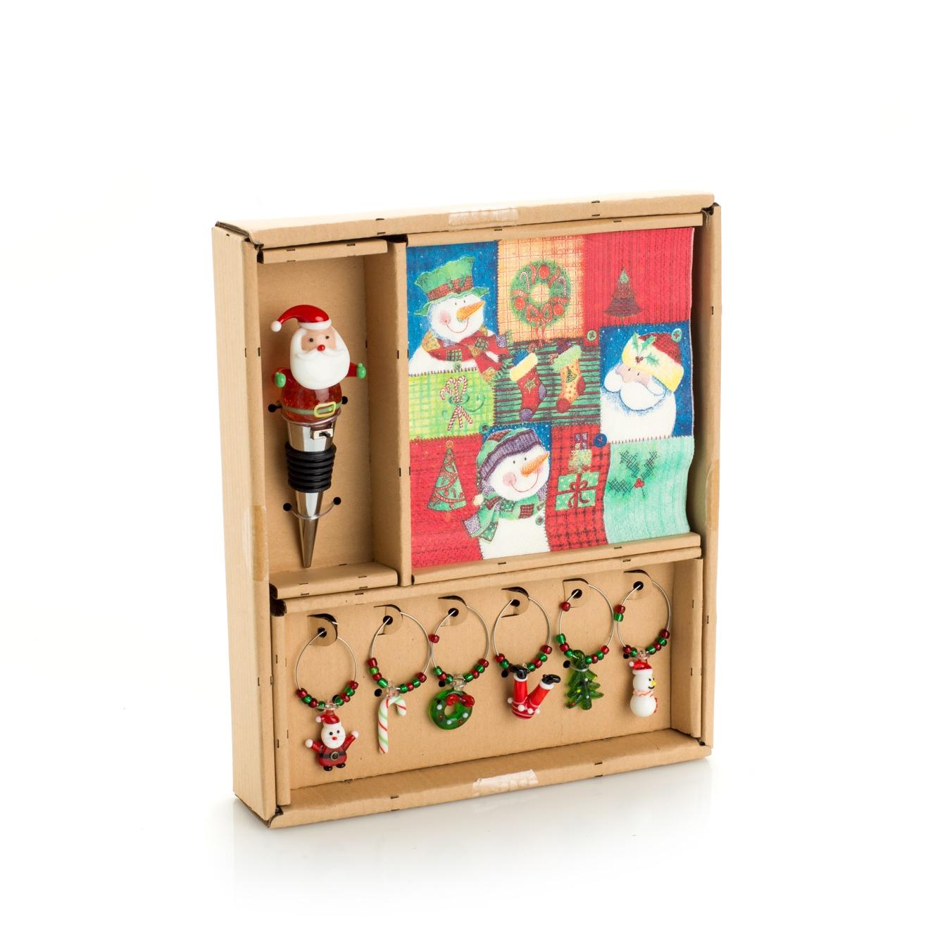 Set Vino Babbo Natale  - Tappo Babbo Con Led - Tovaglioli - 6 Segna Bicchieri