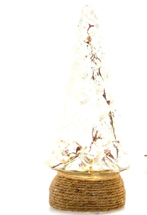 Albero Di Natale In Vetro, Base Rivestita In Corda - Con Led  H: Cm28