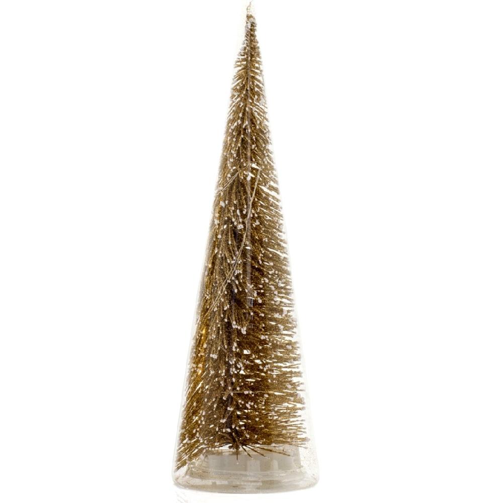 Albero Di Natale In Vetro Soffiato Rivestimento Oro Con Led H: Cm25
