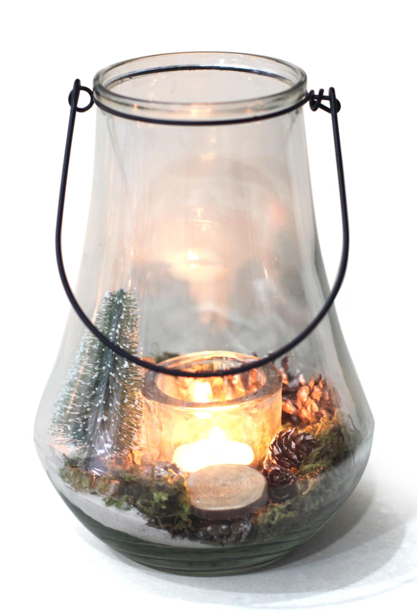 Conposizione Lanterna Natalizia In Vetro Con Candela Hcm22.5