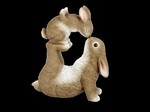 Conigli In Resina Ceramica - Amore Materno - H Cm35