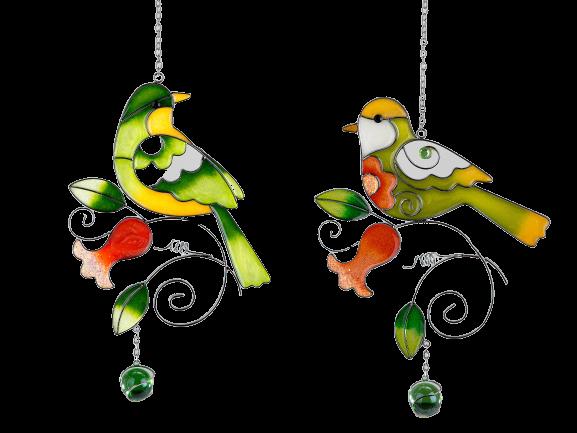 Ciondolo Uccell In Vetro E Metallo H Cm24  Verde Scuro sguardo avanti 1pz