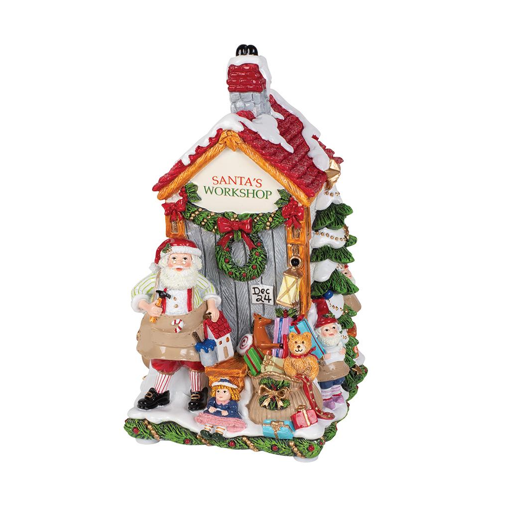 Carillon In Resina Negozio Di Babbo Natale Cm12X23