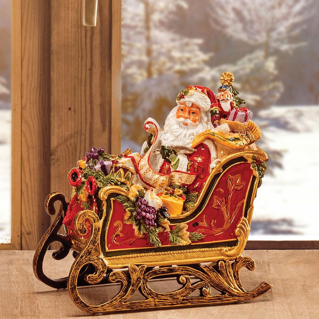 Carillon In Resina Slitta Con Babbo Natale Cm19X18