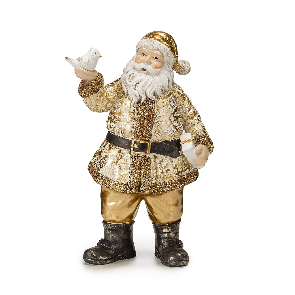 Babbo Natale In Resina Con Colomba H Cm18