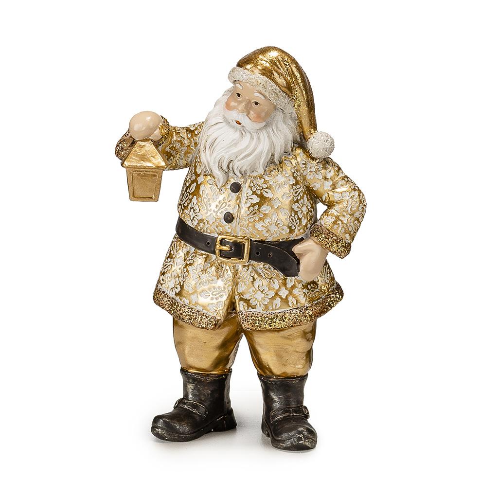 Babbo Natale In Resina Con Lanterna H Cm18