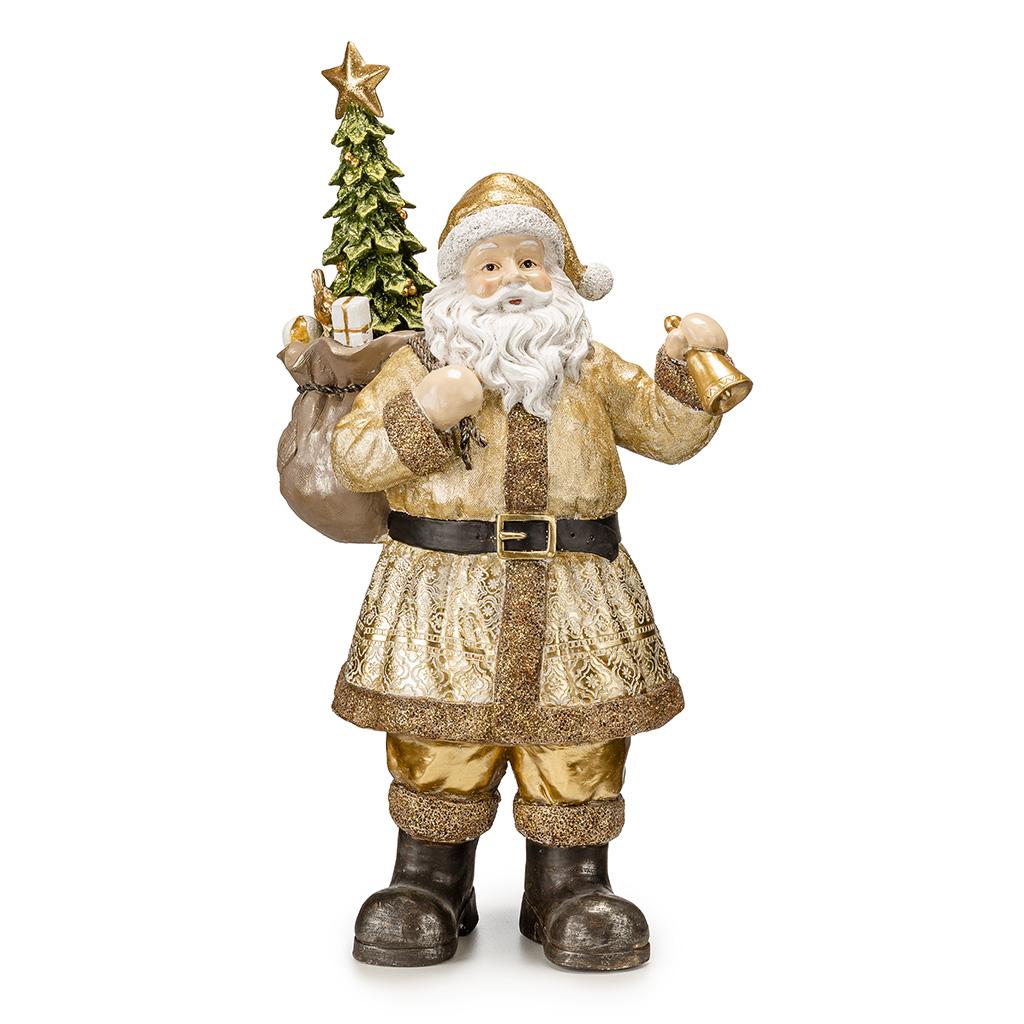 Babbo Natale In Resina Con Albero E Lamterna H Cm52