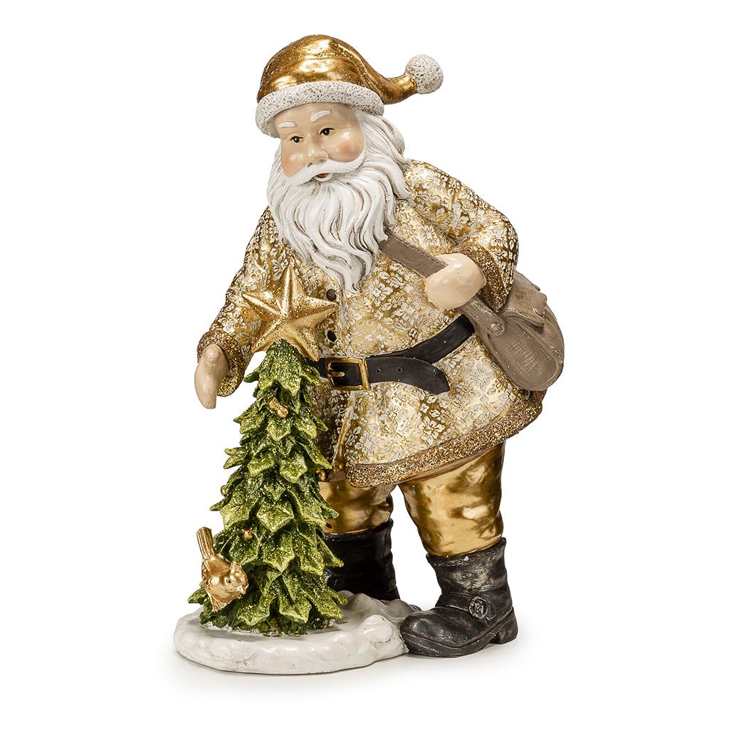 Babbo Natale E Albero Natale Con Stella H Cm42,5