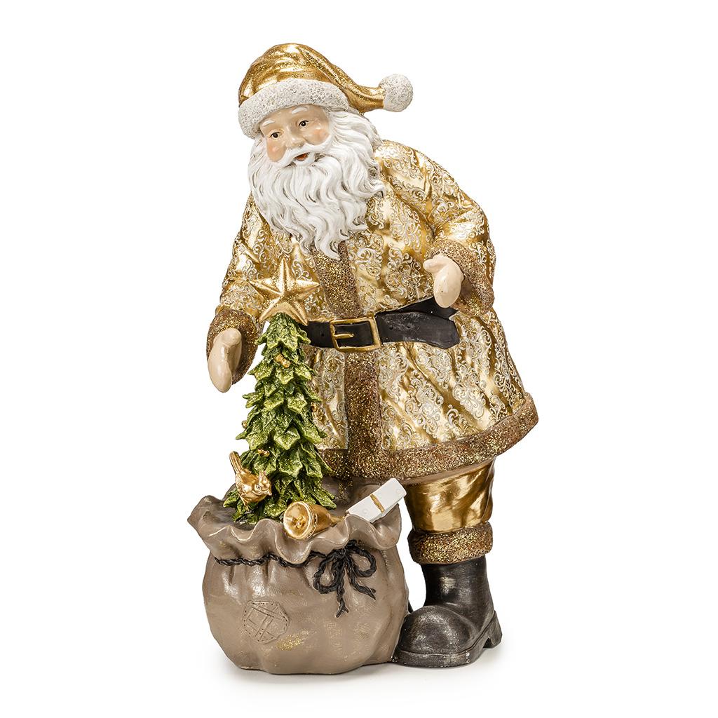 Babbo Natale Con Sacco Ed Albero Natale H Cm30,5
