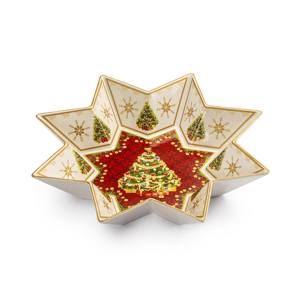Coppa Stella In Porcellana Con Albero Natale Centrale Dia. Cm32
