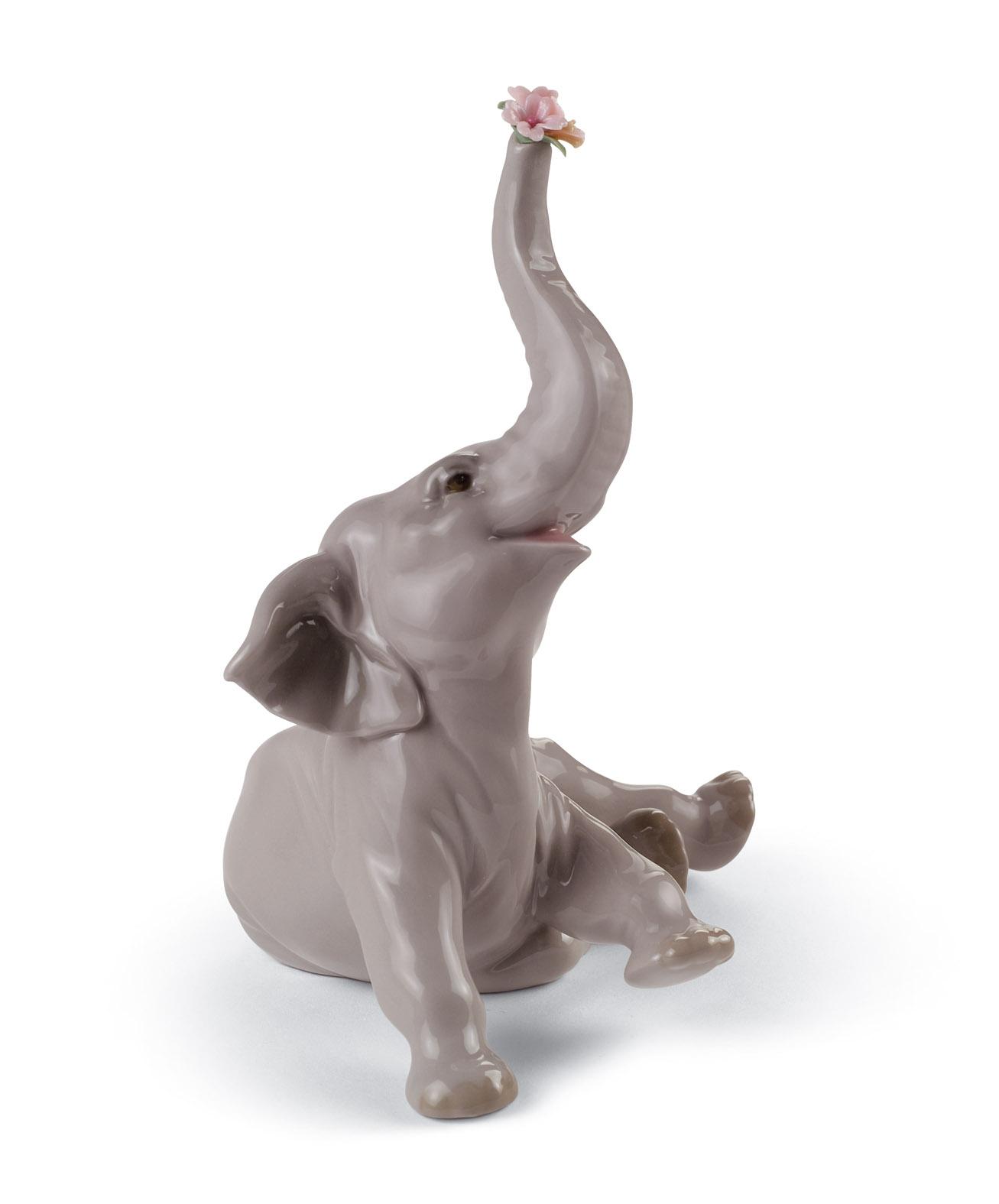 elefante bebè con fiore rosa