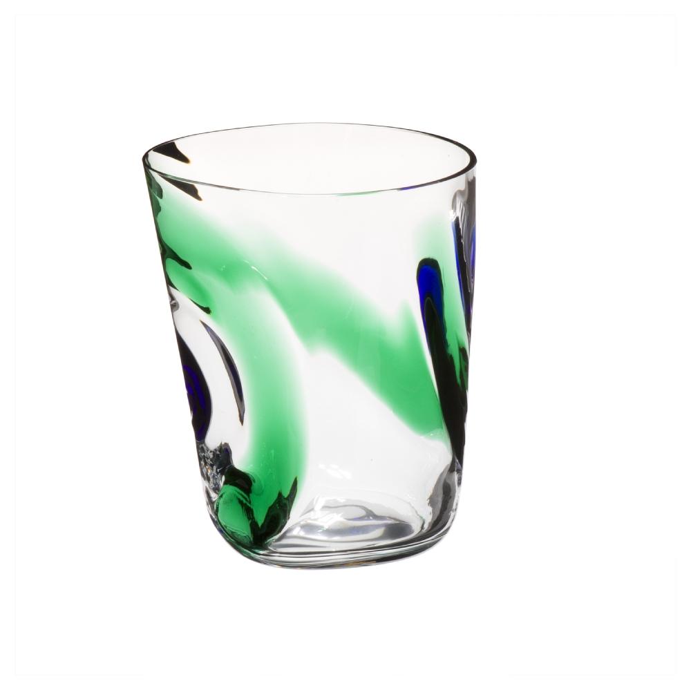 Simple bicchiere acqua bora linee curve verdi e blu with for Linee d acqua in plastica vs rame