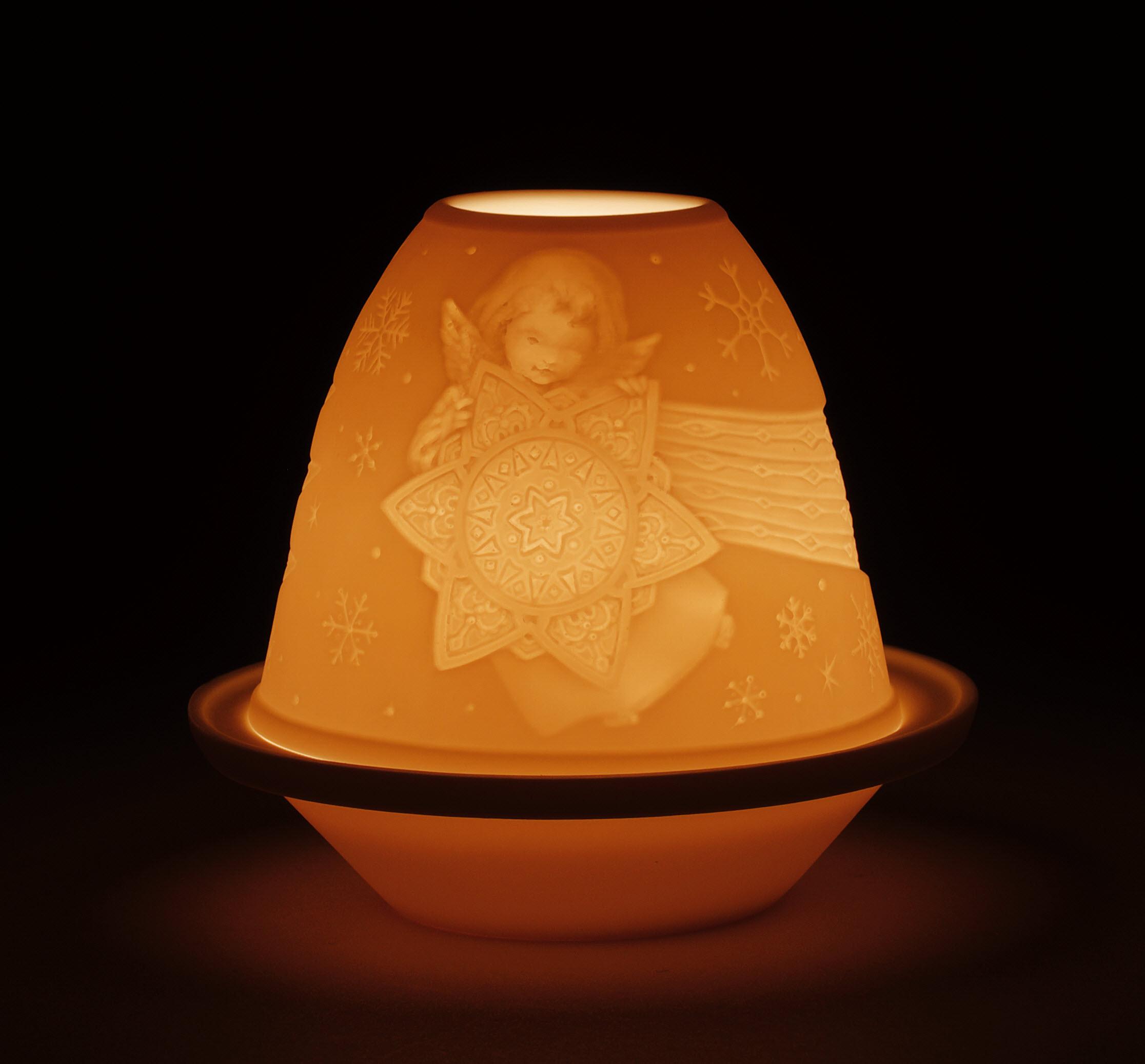 litofania angelo con stella con piatto