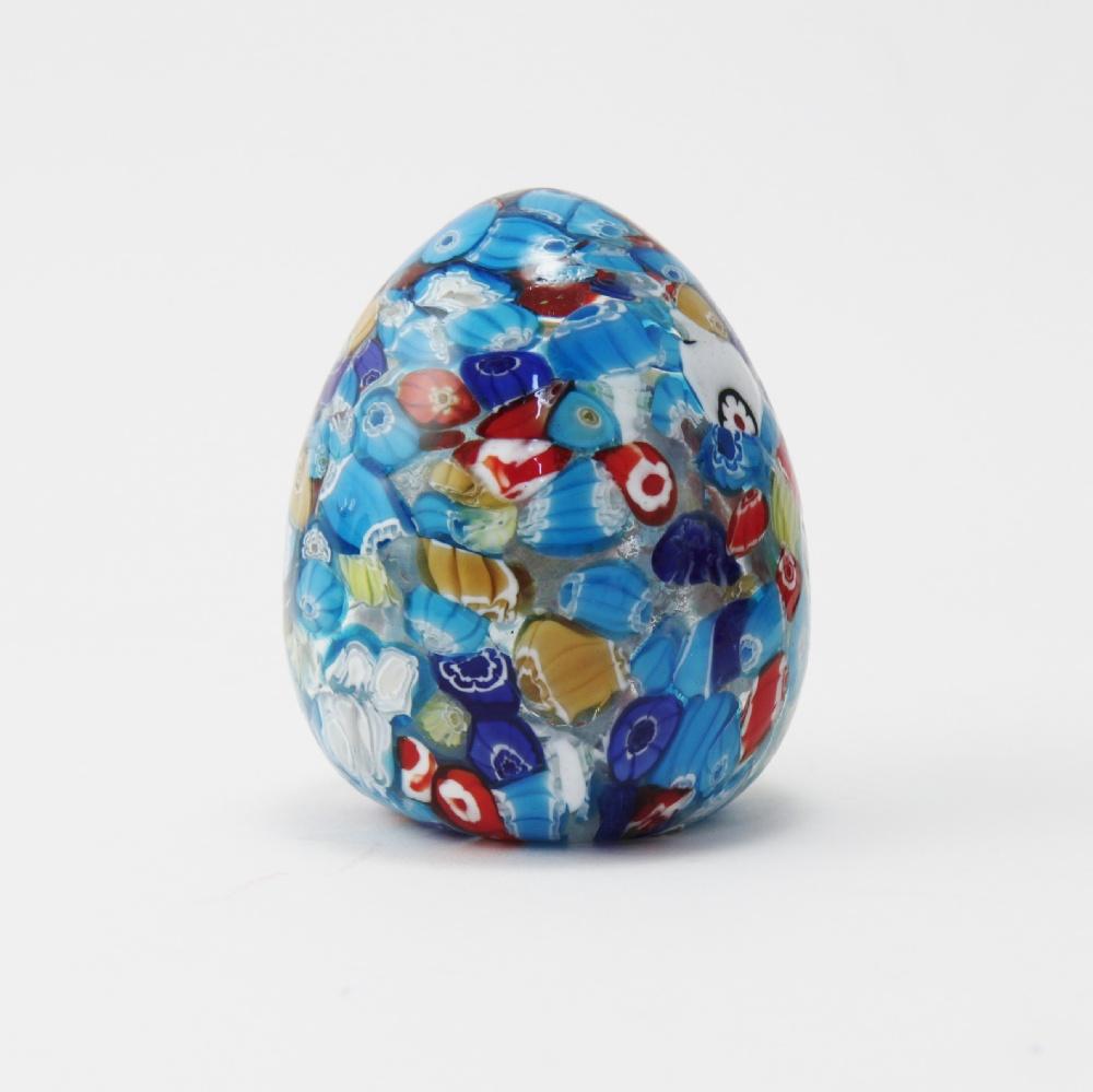Uova vetro con murrine celeste cm10