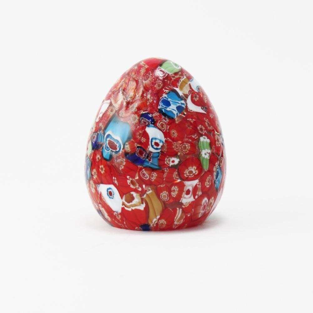 Uova vetro con murrine rosse cm10