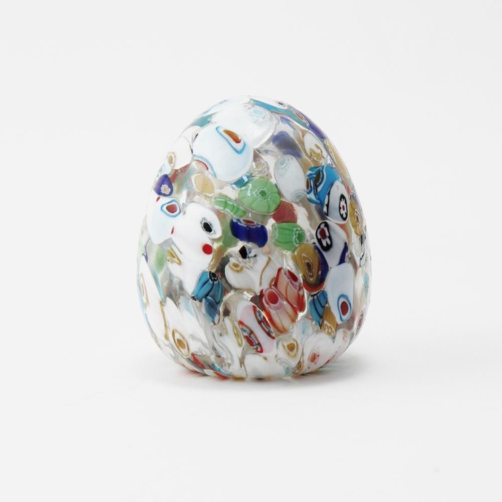 Uova vetro con murrine bianche cm10
