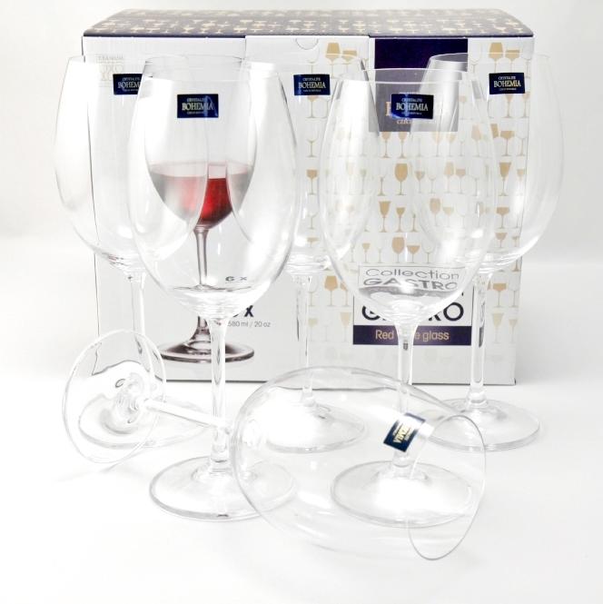 Set 6 Bicchieri Vino Rosso ML580 By Crystalite Bohemia